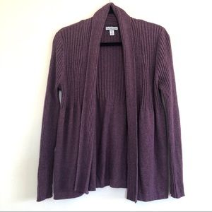 Croft and Barrow Petite Purple Open Front Cardigan